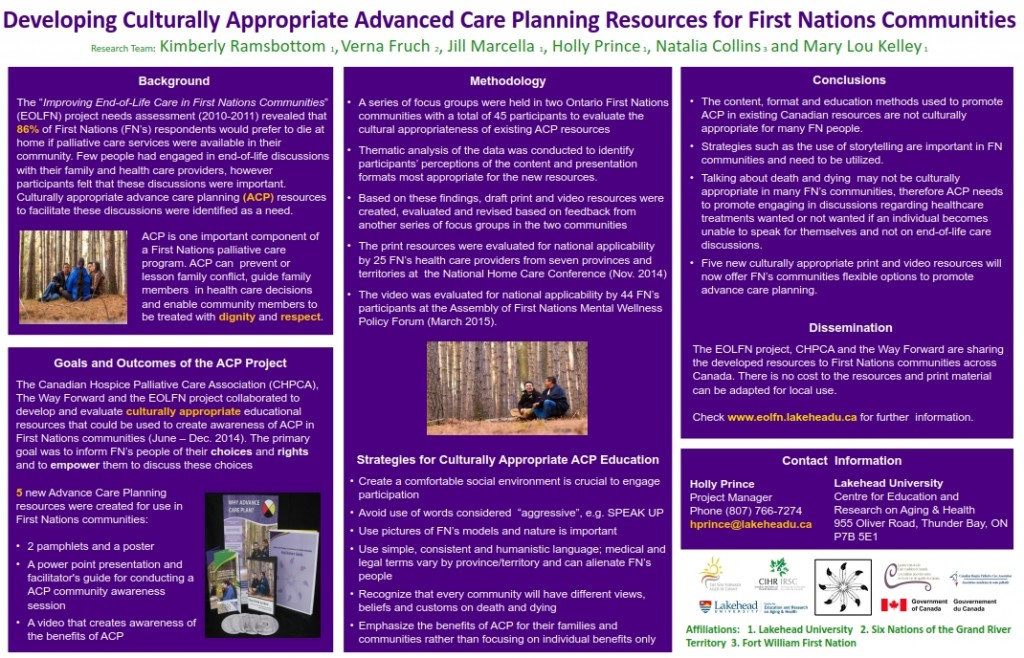 Advanced Care Planning Resources for First Nations Communities, Graphic Poster, 2013