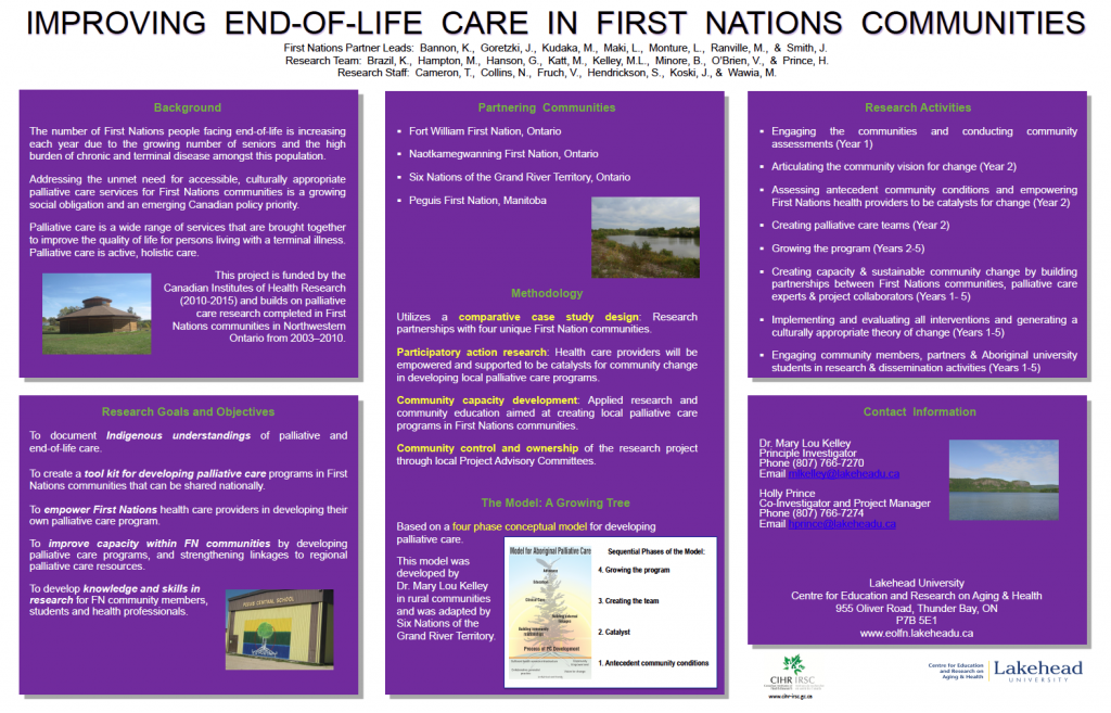 Poster Information, Improving End-of-Life Care in First Nations Communities