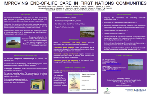 Graphic poster of Improving End-of-Life Care in First Nations Communities